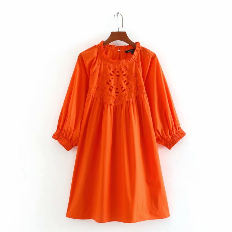 Mini vestido feminino casual, novo 2020, agaric, renda, bordado, manga 3/4, vestido chique, ds3662