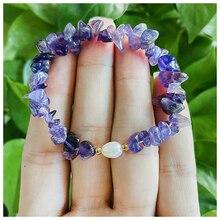 Amethyst Crystal Gemstone Bracelets for Women Elastic Rope Irregular Natural Stone Beaded Bracelet P