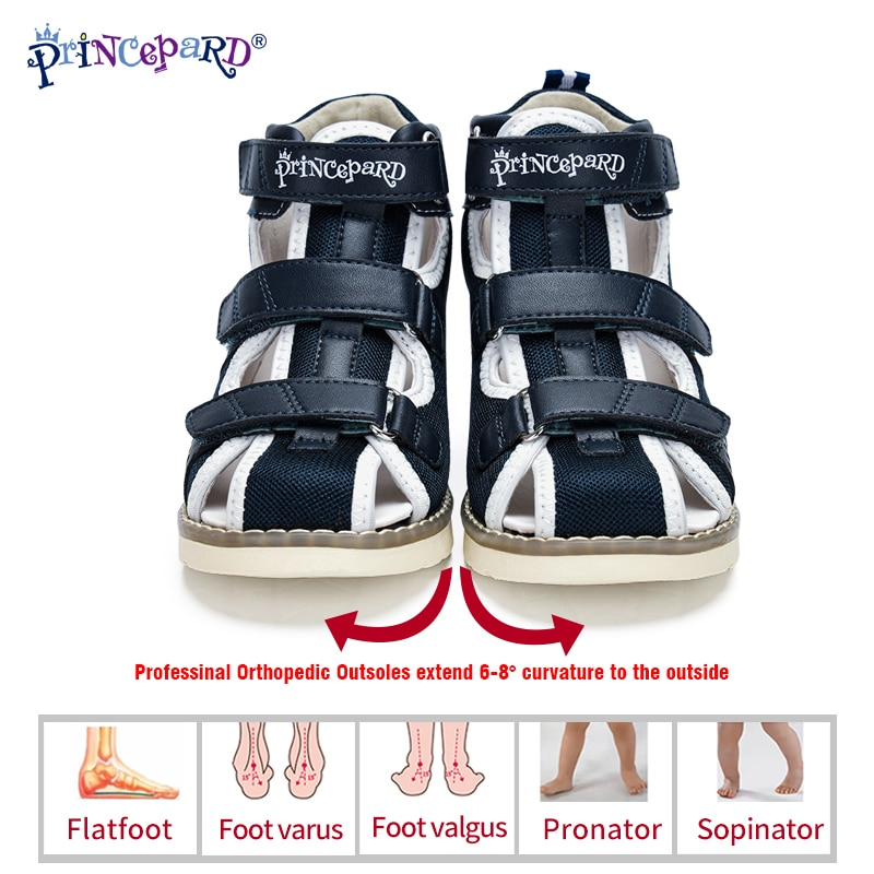 Princepard Spring Summer Kids Orthopedic Sandals 2020 New Closed Toe Leather Arch Support Correcting Shoes Toddler Girls Boys enlarge