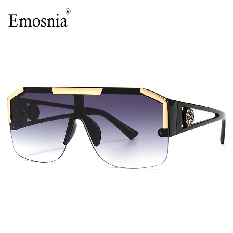 2021 New Fashion Big Square Sunglasses Men Style Gradient Trendy Driving Retro Brand Design Sun Glas