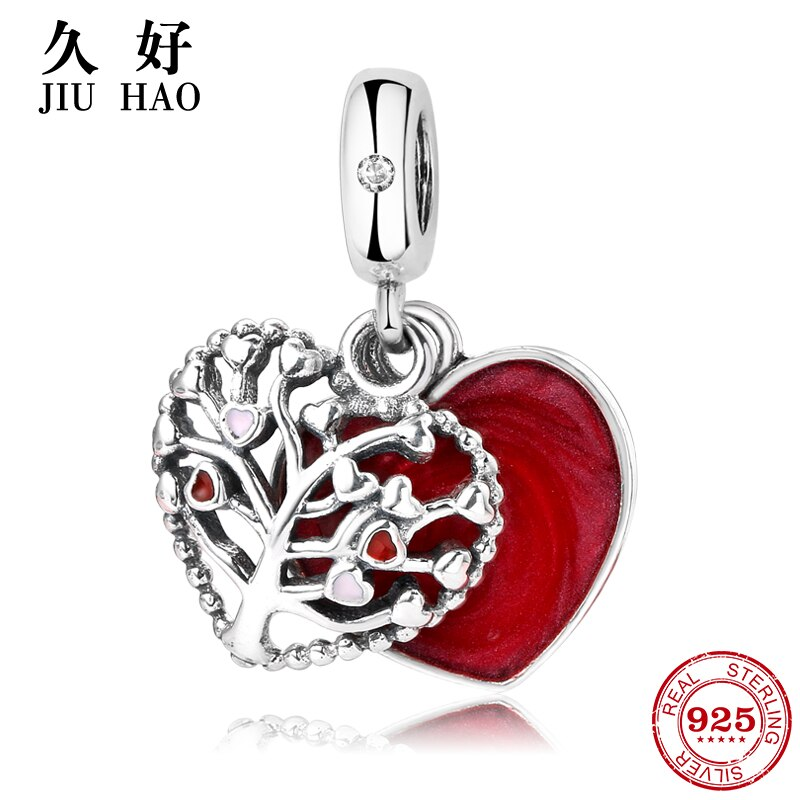 Новый кулон из стерлингового серебра 925 пробы с красным сердечком в форме Древа Жизни, оригинальный браслет Pandora, Женские аксессуары, ювелирные изделия