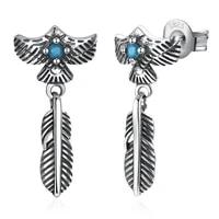 zemior sterling silver 925 jewelry vintage feather earrings dangle personality 5a zircon drop earrings for women party gift