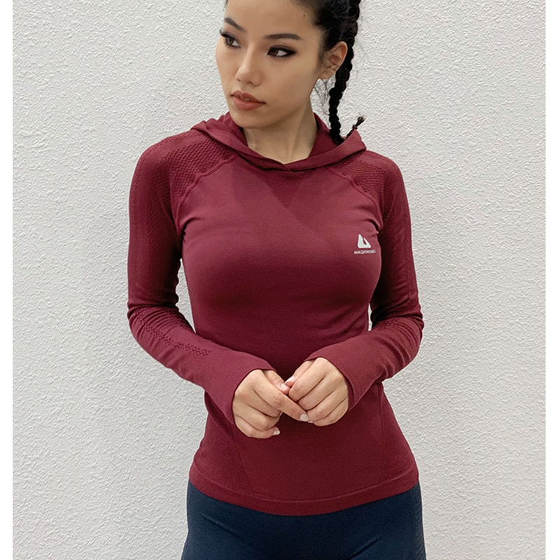10PCS Wholesale Ladies Hooded Sports Yoga Fitness Tops Long Sleeve T-shirt Running Breathable Gym Clothes