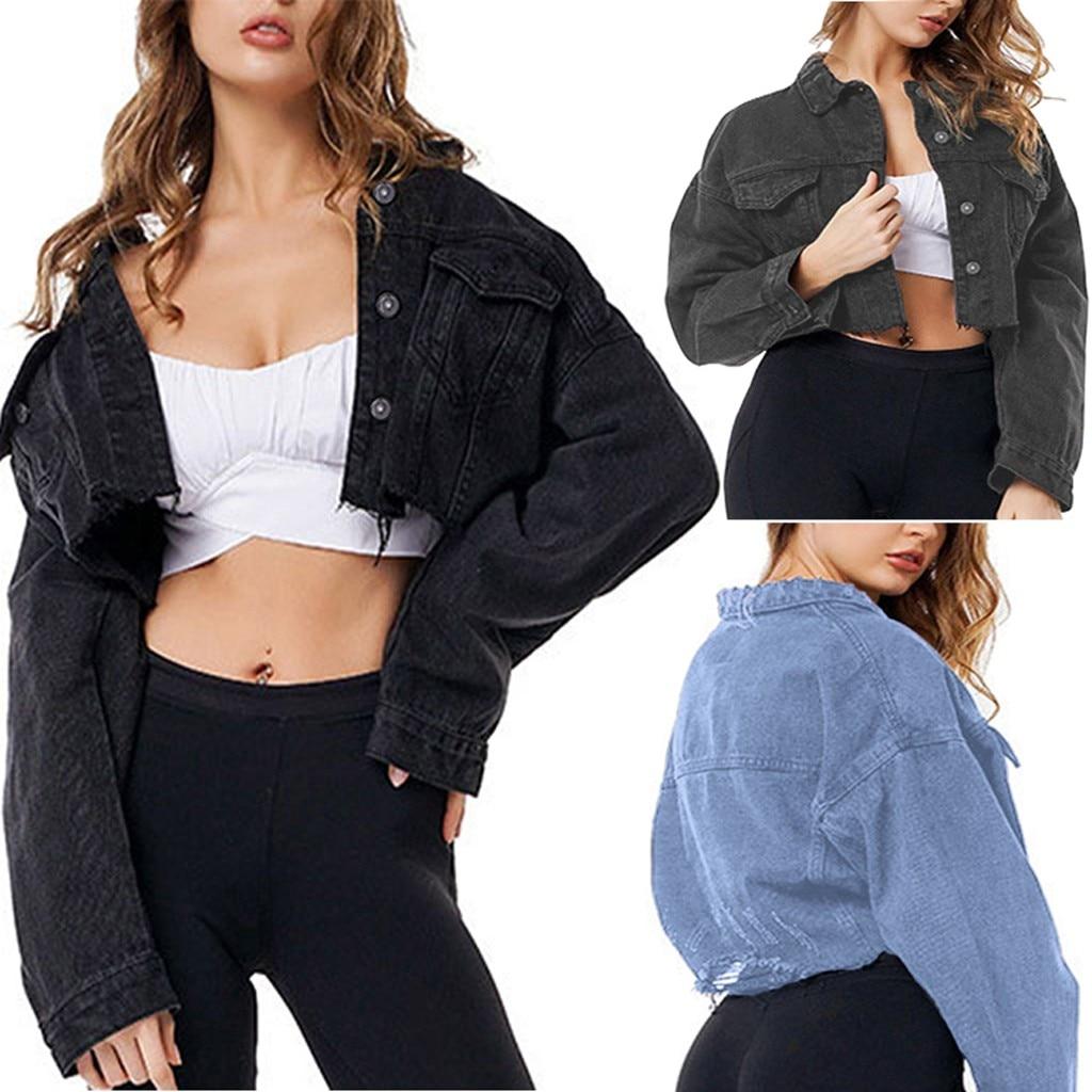 35 # abrigos mujer invierno 2019 mujeres de manga larga Denim corto señoras chaqueta informal de abrigo Jeans abrigo chaqueta de invierno mujeres