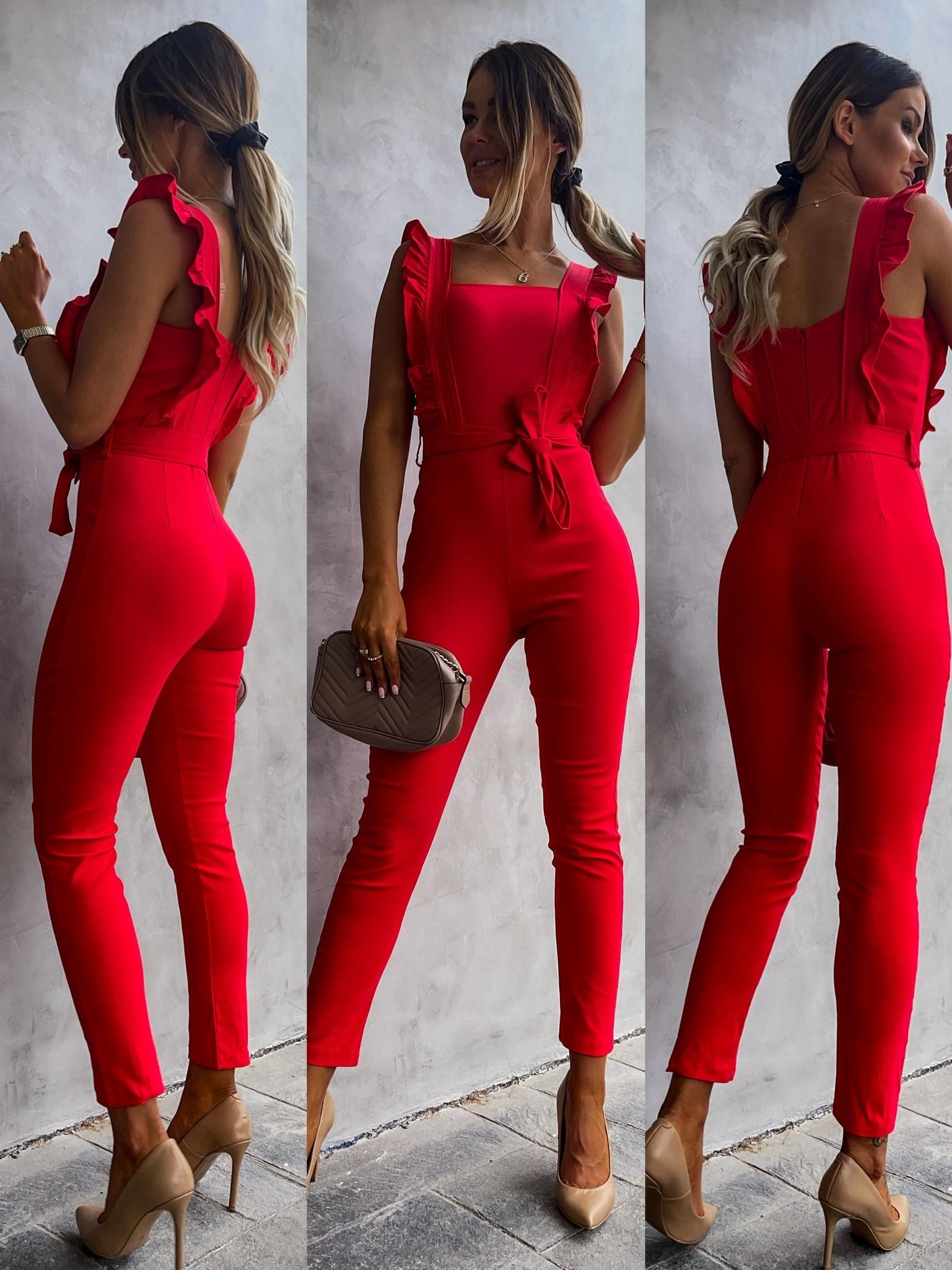 Tute senza maniche moda estiva per donna 2021 tutina a vita alta Clubwear body pagliaccetti con cintura
