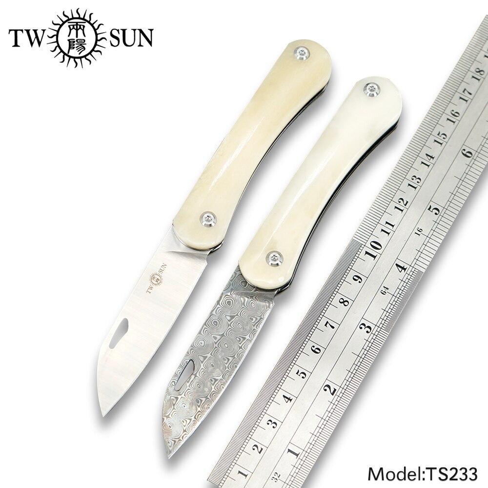 TWOSUN knives SLIP JOINT M390 Damascus blade Pocket folding Knife camping knife hunting outdoor tool EDC TC4 Titanium Bone TS233