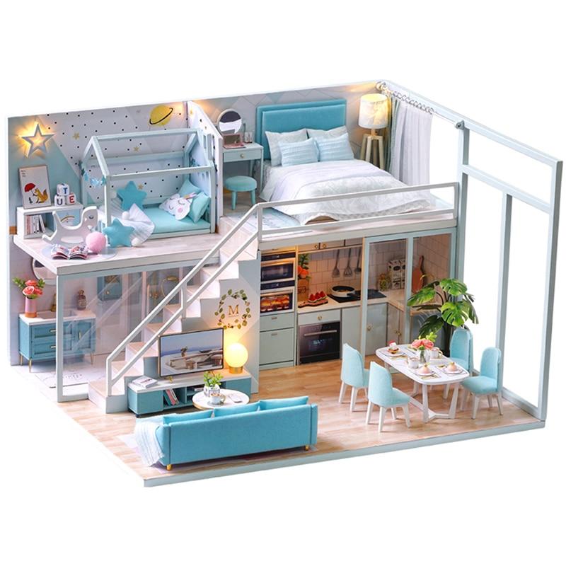 CUTEBEE DIY кукольный домик, деревянные кукольные домики, миниатюрный кукольный домик, мебельный набор, Casa Music, светодиодные игрушки для детей, по...