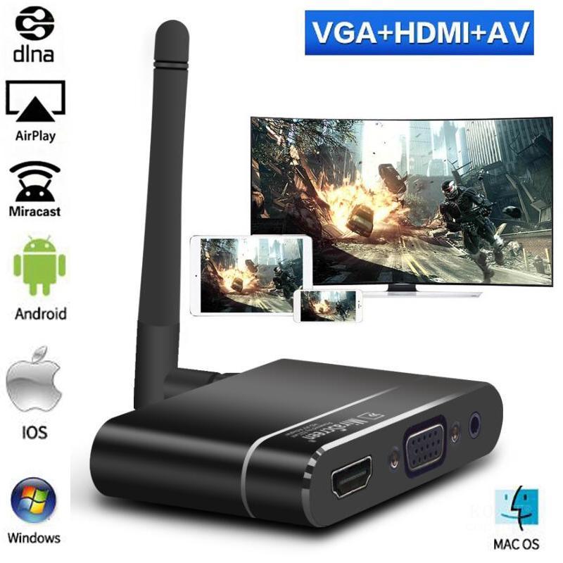 Mirascreen-adaptador X6W para coche, inalámbrico, HDMI + VGA + RCA AV, TV Stick Android, Miracast, Airplay, DLNA, Mirroring con pantalla Wifi