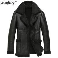 real sheep shearling fur coat winter jacket men 100 wool coat streetwear mens jackets and coats jaqueta couro 139 yy477