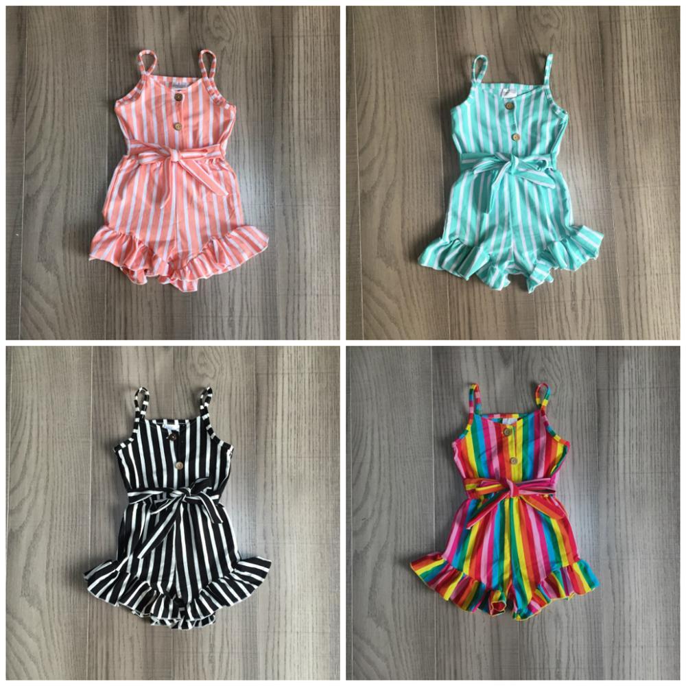 Girlymax, mono a rayas con cuello halter de seda de leche para niñas, ropa de verano de algodón para bebés, mono de una pieza, ropa con volantes