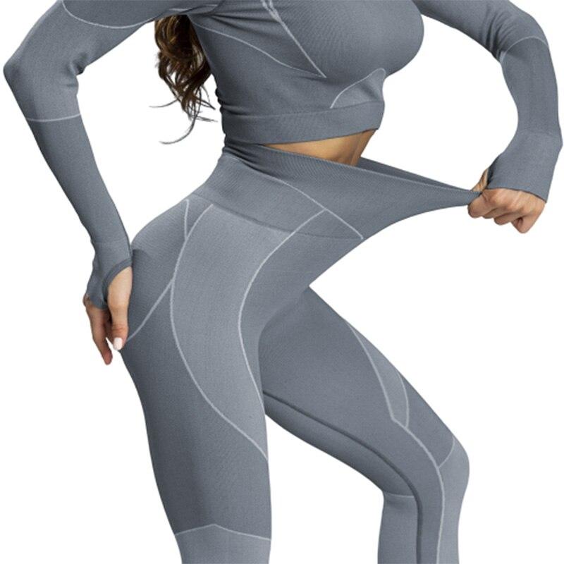 Ropa de gimnasio para mujer, conjunto de Yoga, camisetas cortas sin costura con retazos y Push Up de cintura alta para mallas a la cadera, ropa deportiva para mujer