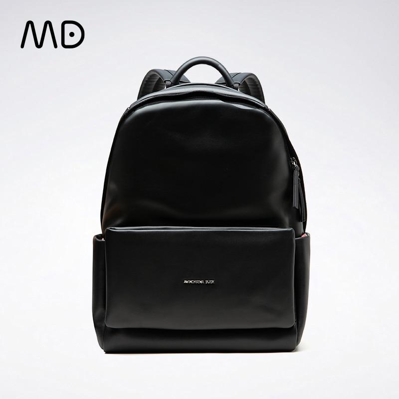 Mandarina pato unsex designer de luxo itália couro genuíno mochila feminina novo preto mochilas escolares à moda mochilas couro
