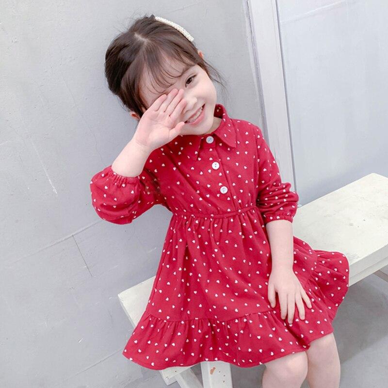 Autumn Infant Baby Kids Girls Long Sleeve Cotton Dress Various Kinds Cute Dot Print Solid Color Comfortable Button Warm Dress
