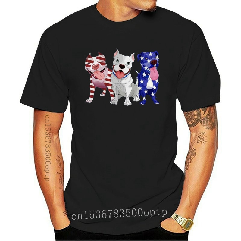 New Black Pitbull Red White Blue Stars American Flag 4Th Of July Shirt 100% Cotton Birthday Gift Tee Shirt