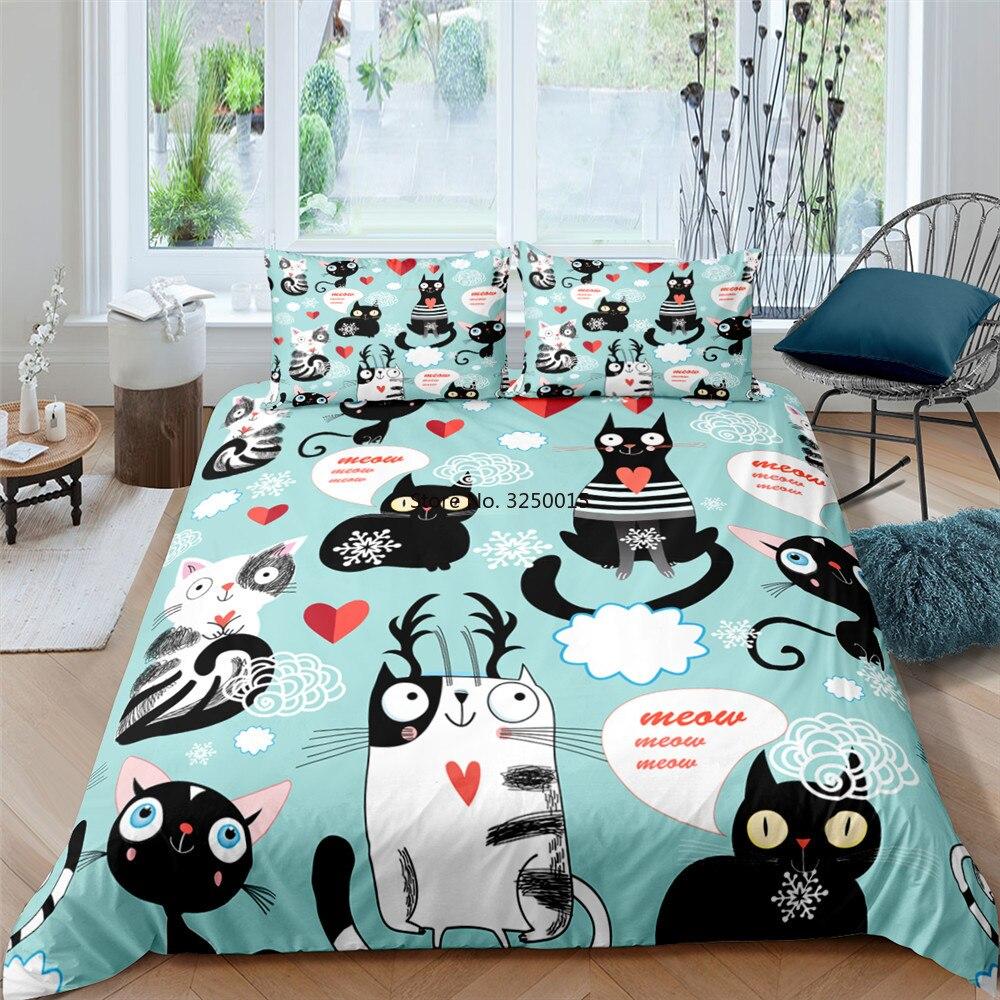 2/3 قطعة المنسوجات المنزلية الكرتون لطيف القط غطاء لحاف حاف الغطاء كيس وسادة طقم سرير فتاة صبي الملك الملكة التوأم حجم