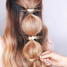 Einzigartige Haar Stick 2020 Metall Gold Gefüllt Runde Haar Zubehör Chic Brötchen Halter Original Brötchen Käfig Femme Haar Schmuck