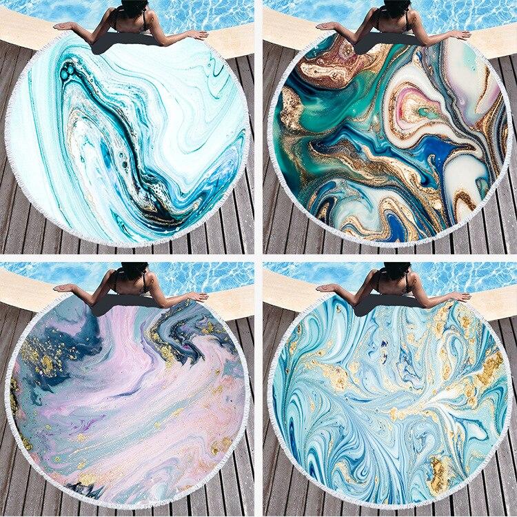 Boho mármol toalla de playa abstracto esterilla de algodón para yoga manta de Picnic de Yoga mandala suave alfombra de playa toalla 150xc150cm