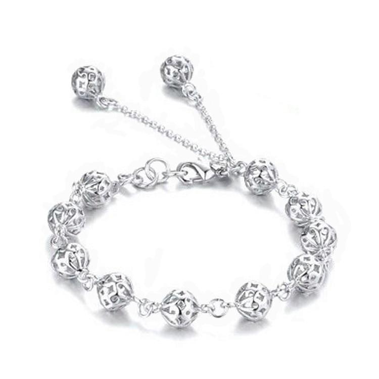 Coração oco bola pulseira femma nobre bonito moda festa de casamento banhado a prata bonito raposa senhora agradável feminino pulseira jóias