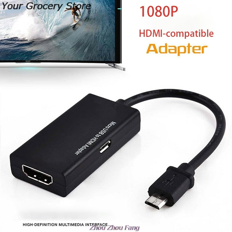 Adaptador compatible con HDMI y Micro USB, convertidor de Audio y vídeo...