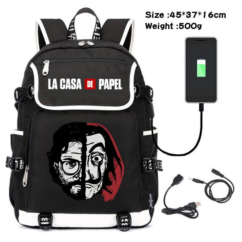 La Casa دي بابيل المال سرقة منزل من ورقة الرجال النساء USB شحن محمول حقيبة ظهر للسفر صبي فتاة المراهقين حقيبة المدرسة