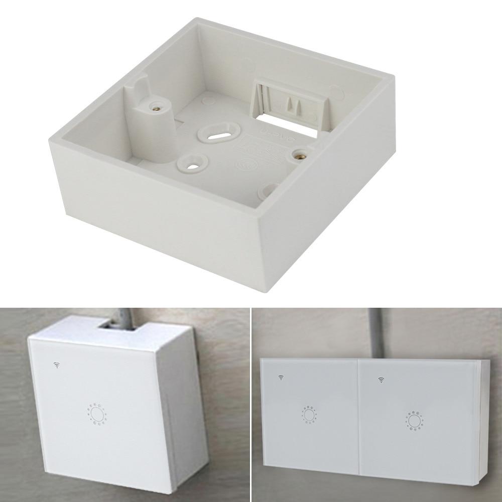 1/2 gang 86 type External Mounting Socket Switch Box EU Standard High Fireproof PVC White Wiring Wall External Back Dark Box