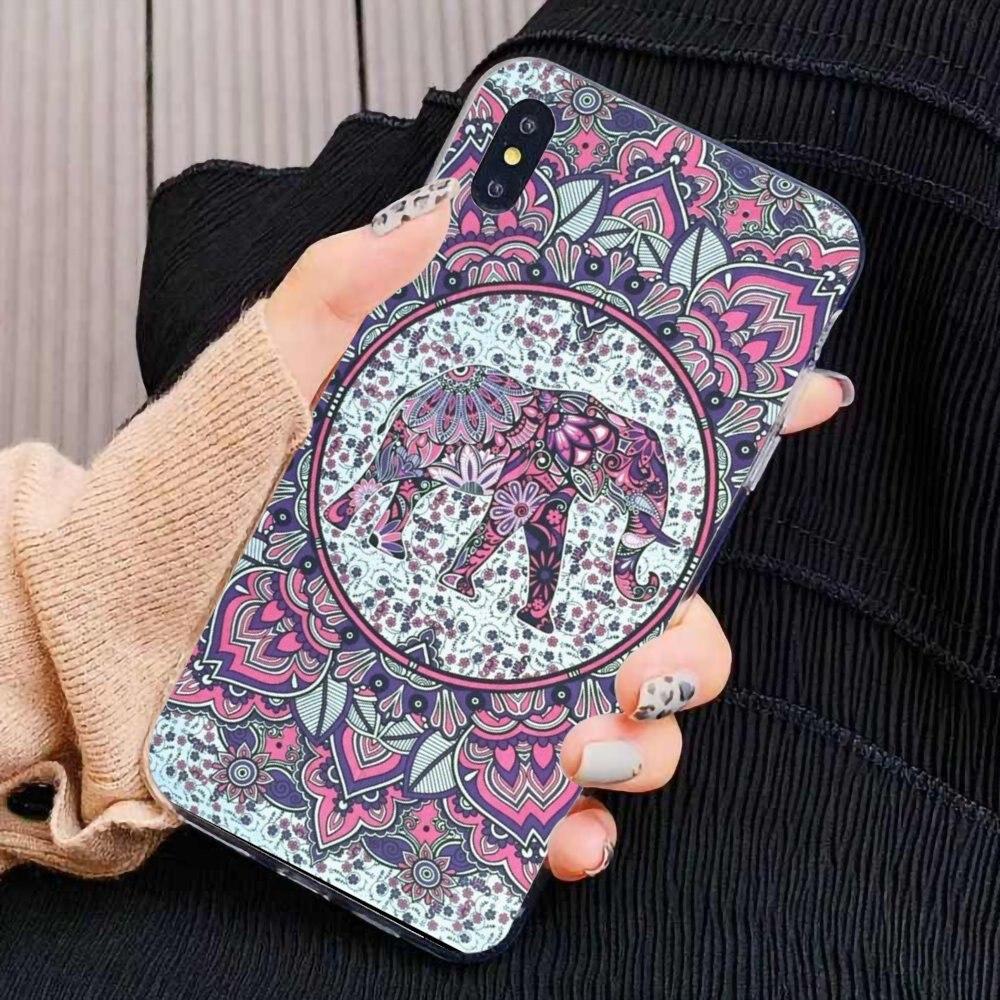 Weiche Shell Abdeckung Für iPhone 11 Pro 4 4S 5 5S SE 5C 6 6S 7 8X10 XR XS Plus Max Für iPod Touch böhmischen Tapisserie Hippie Mandala