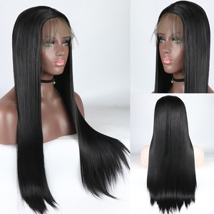 26 Natural Black Synthetic Chignon Straight Front Lace Wig For Women Long Straight Fake Hair Wig Swiss Lace Fringe Hair Wig