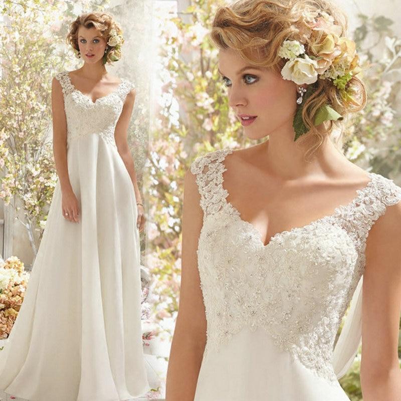 Beach Wedding Dresses White/Lvory Chiffon Lace Appliques Bridal Gown Backless Vestido De Noiva