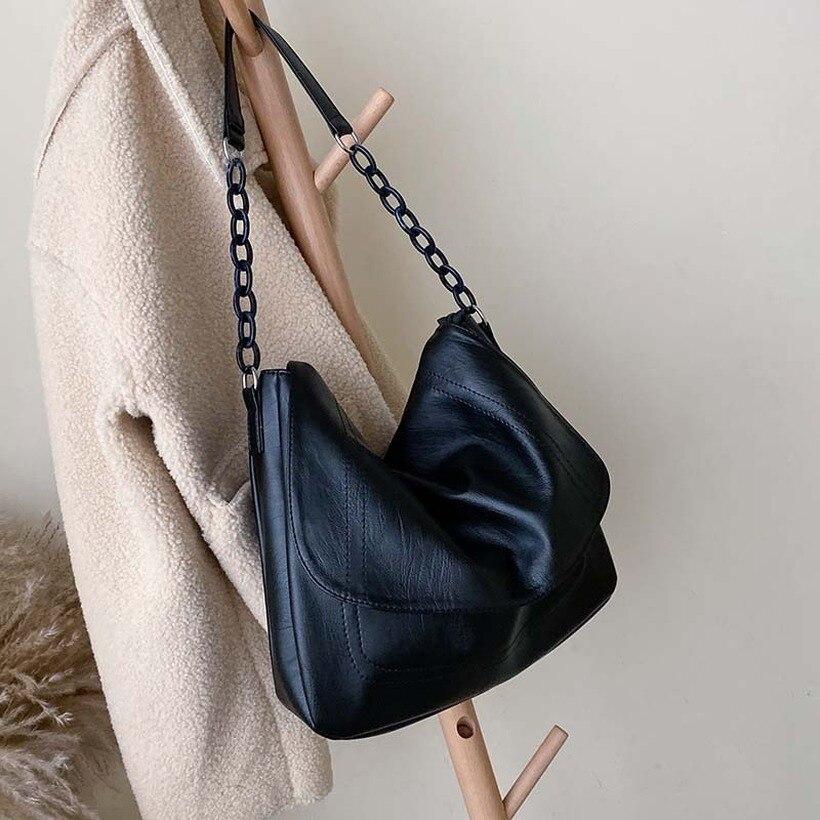 Женские сумки на плечо с цепочкой из искусственной кожи, одноцветные, 2019, черные, дорожные сумки, Дамская простая Сумочка, женская элегантная сумка