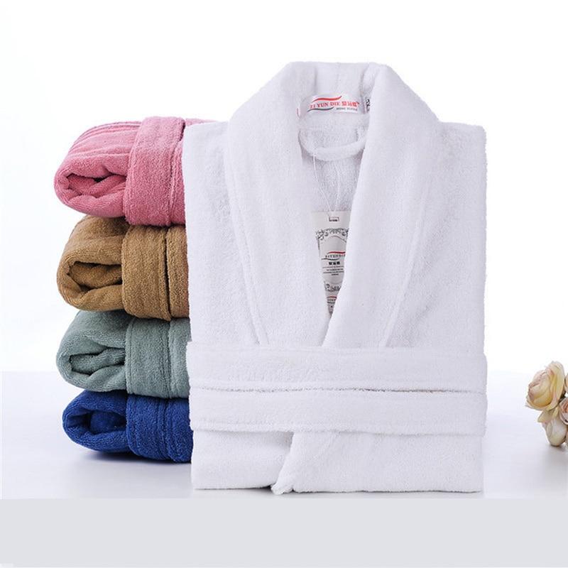 100% قطن تيري رداء للجنسين عشاق لينة روب استحمام الرجال والنساء ملابس النوم الذكور رداء حمام المنزل غير رسمي