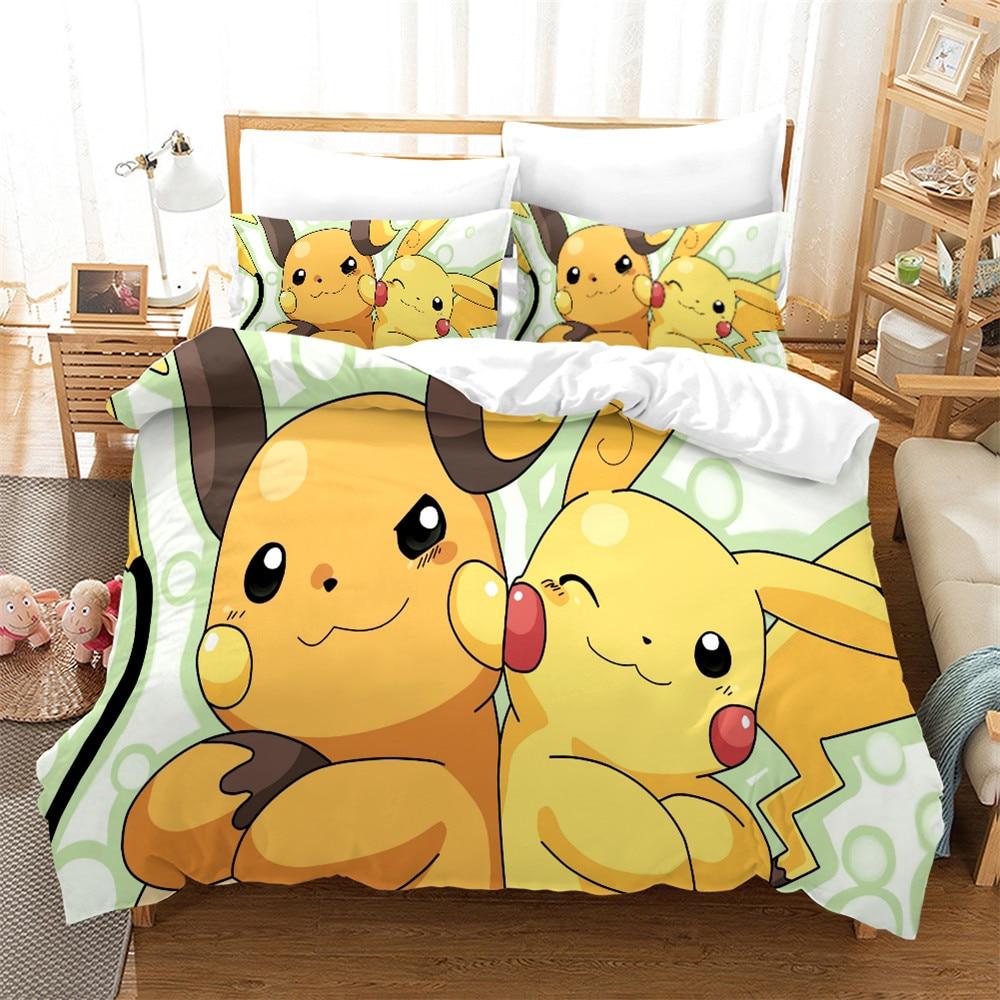 Pokémon детский набор пододеяльников, милый чехол на кровать с Пикачу, декор для спальни, подарок, Комплект постельного белья для девочек и мал...