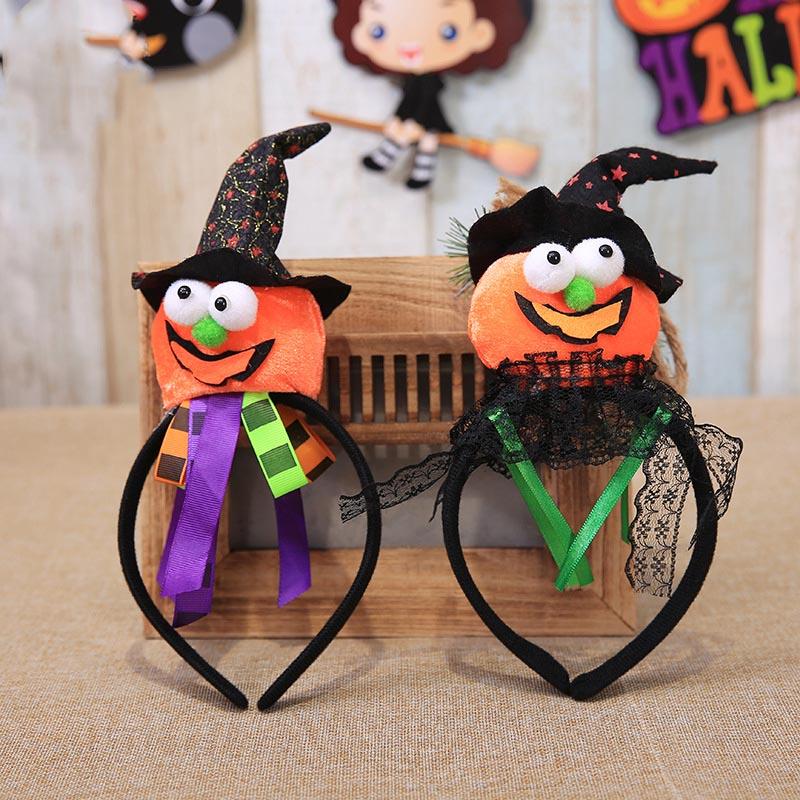 Gorro con dibujos animados bonitos sombreros calabaza murciélago Halloween decoraciones cabeza aro gorro banda para niños adultos accesorios para el cabello