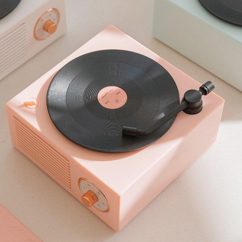 Reproductor de discos de vinilo altavoz Retro atómico Radio grabadora inalámbrico portátil Mini acero altavoz tipo impermeable TF tarjeta AUX