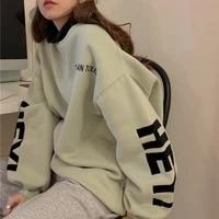 oversized vintage letter print crewneck sweatshirts women 2021 new fashion clothes long sleeve hoodies harajuku loose pullover