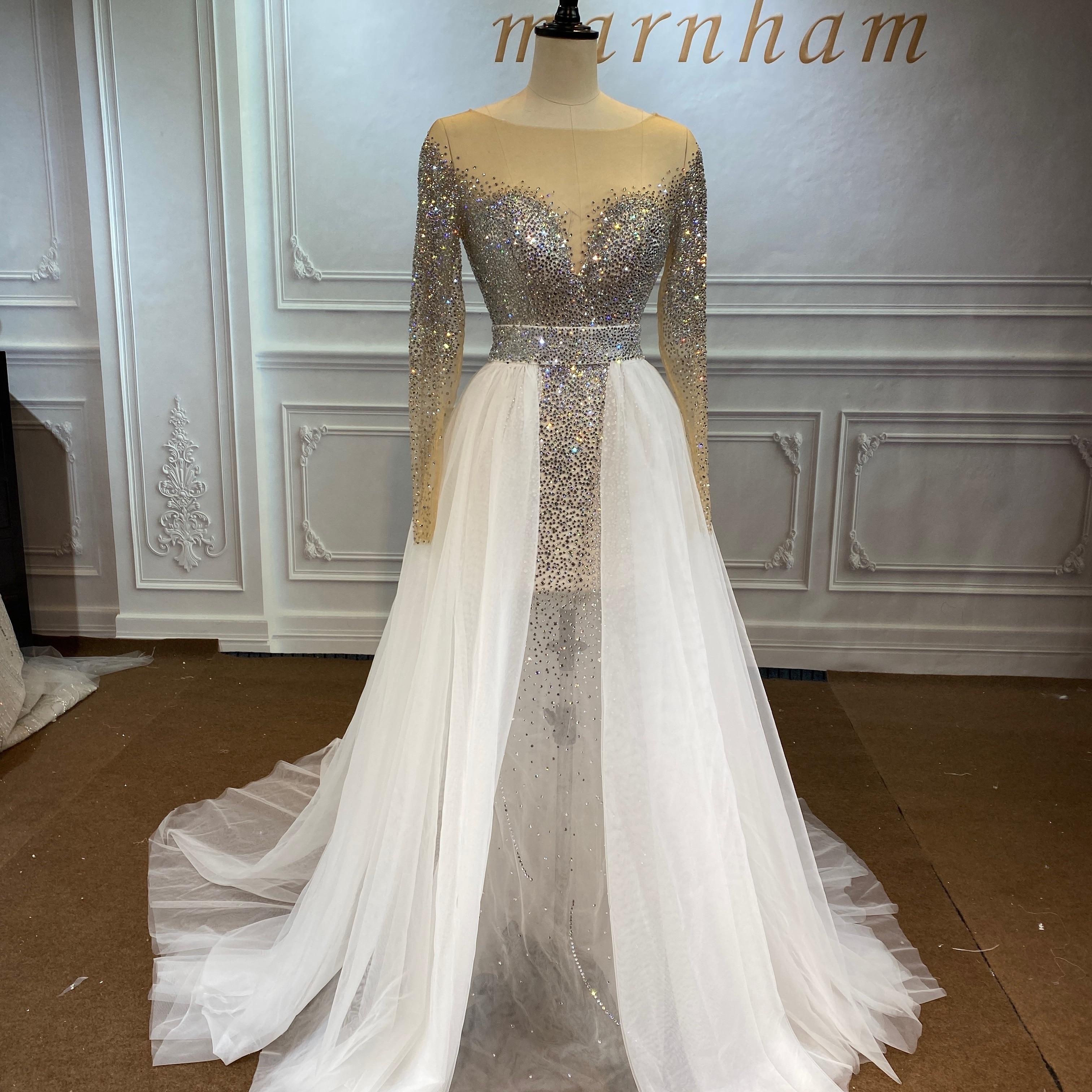 Marnham 2021 New Sexy  Mermaid Wedding Gown Bridal Dress Stunning V-Neck Lace Full Sleeve Real Work Photo