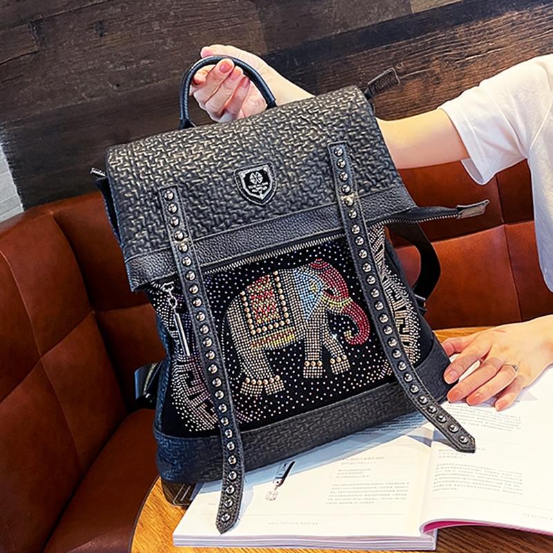 Luxury Rhinestone Backpack for Women Ita Bag Shoulder Animal Prints Fancy Bolsa Feminina School Mochilas Para Mujer Sac A Dos