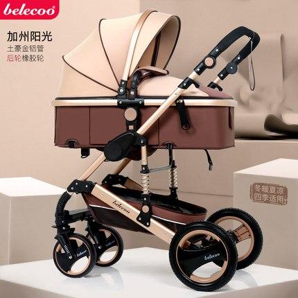 Cochecito de bebé 2 en 1 de paisaje alto, asiento y tumbado, multifunción, de dos vías, amortiguador de cuatro ruedas, cochecito liviano para bebé