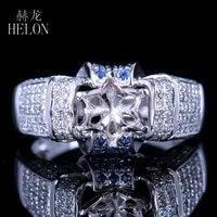 helon solid 14k white gold 0 8ct natural diamonds sapphire semi mount engagement wedding ring setting fit round cut 6 6 5mm