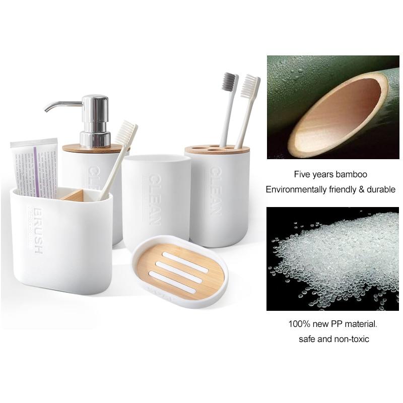 6Pcs Bathroom Accessories Set Toothbrush Holder Bin Soap Dish Soap Dispenser Tumbler Mouthwash Cup Toilet Brush With Holder enlarge