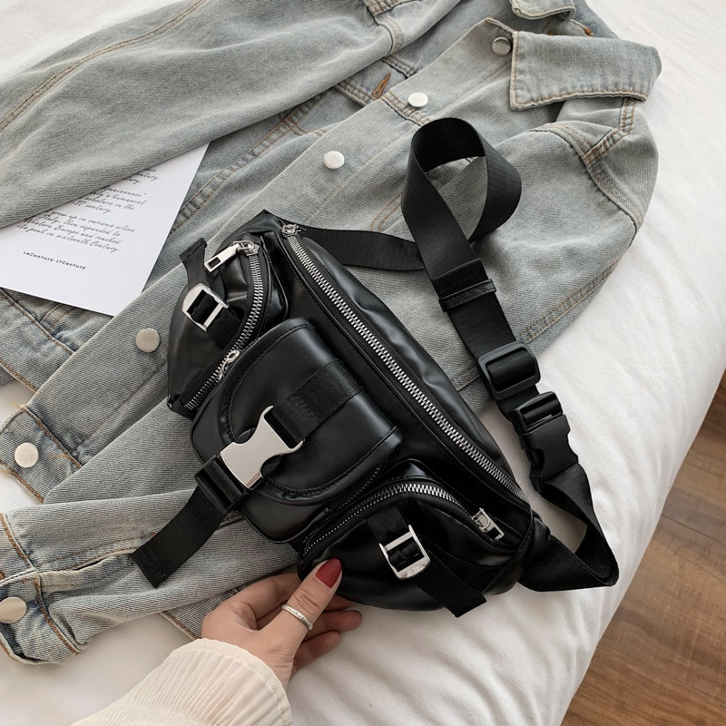 Women Men Waist Bags Waterproof PU Leather Belt Bag Fanny Pack Crossbody Bumbag for Party, Travel, H