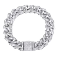 14mm hip hop miami cuban chain iced out bracelet rapper jewelry cubic zirconia gold sliver gc0703