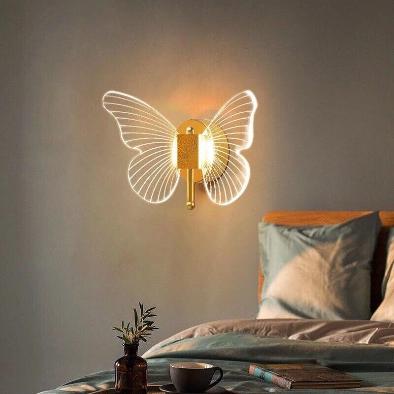 الحديثة LED فراشة الجدار مصباح إضاءة داخلية Lampras الجدار لغرفة النوم السرير غرفة المعيشة الديكور خلفية تركيب المصابيح