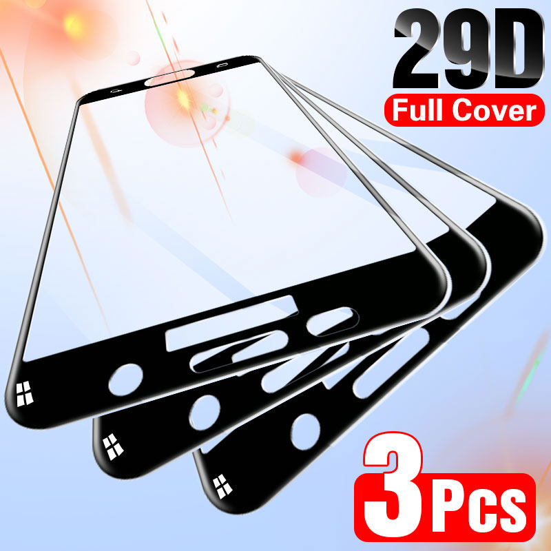 3Pcs Full Protective Glass For Samsung Galaxy A7 A5 2017 A8 A6 Plus A750 2018 Screen Protector For S