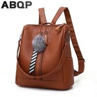 abqp anti theft women leather backpack back opening travel school girls bagpack designers female school backpack