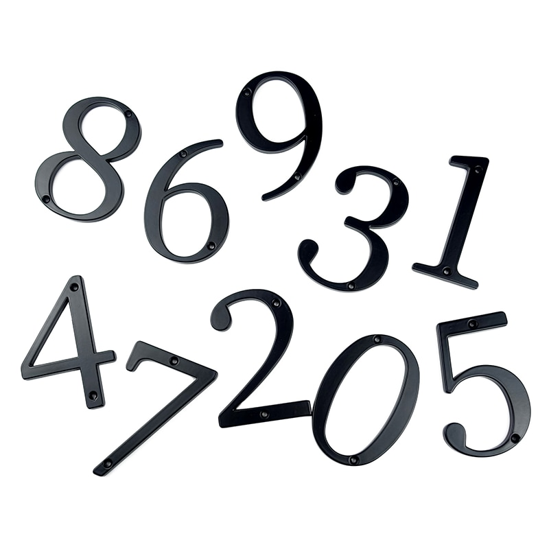 "Купить с кэшбэком Black 4"" 101mm Modern House Number for House Door Address Home Number Digits Zinc Alloy  Big Mailbox Address Sign #0-9"