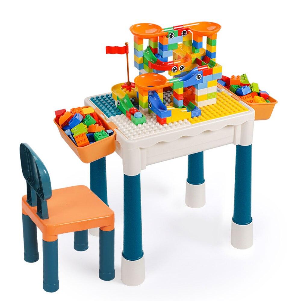 Mesa de bloques de construcción DIY clásica con sillas, mesa de estudio, bloques de construcción de gran tamaño, escritorio de almacenamiento Duploed compatible para juguetes para niños