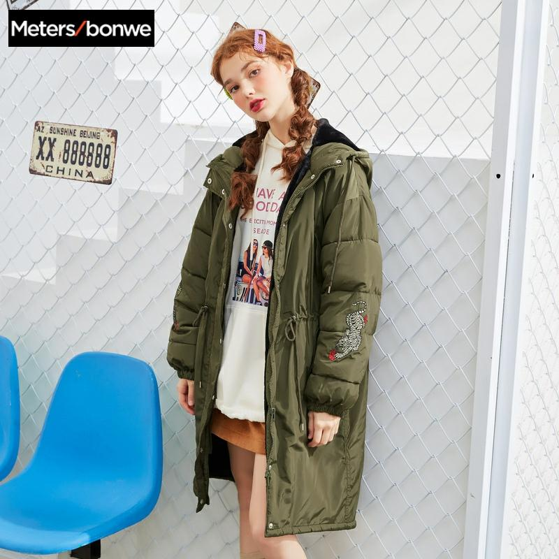 Metersbonwe inverno feminino longo para baixo casaco moda feminina com capuz jaqueta de algodão quente casual roupas de algodão