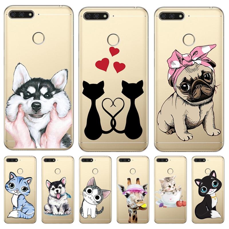 Чехол с рисунком кота собаки для huawei Y5 Y6 II Prime Nova 2 3 4 3i Plus 2018 2017 чехол для телефона Coque Etui funda etui capinha cute capa