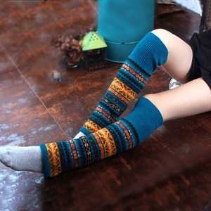 Bohemian Style Wool Boot Socks Female Thick Fall Color Matching Leg Warmers Women Fluorescent Color Comfort Legwarmers BAC317