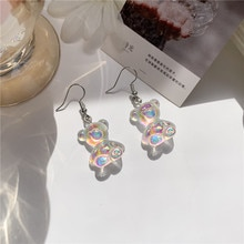 Lovely Transparent Bear animal Women Candy Stud Earrings Resin Three-dimensional Jewelry Lady Fashio